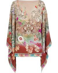Etro Poncho de seda de flores - Neutro