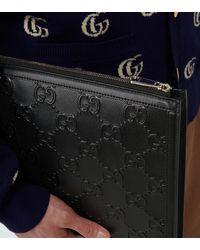 Gucci Ouverture Pouch GG aus Leder - Schwarz