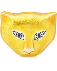 Gucci Silver Cat Head Brooch With Enamel - Yellow