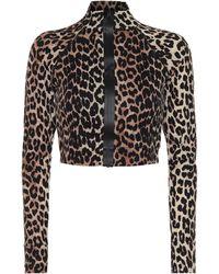 Ganni Leopard-print Rashguard - Natural