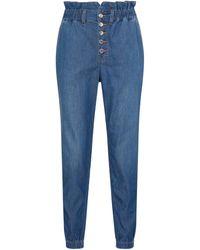 Veronica Beard Jeans rectos Tedi de tiro alto - Azul