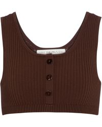 Live The Process Henley Ribbed-knit Bralette - Brown