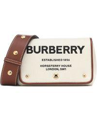 Burberry Schultertasche aus Canvas und Leder - Natur