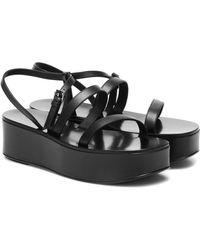 The Row Wedge Leather Platform Sandals - Black