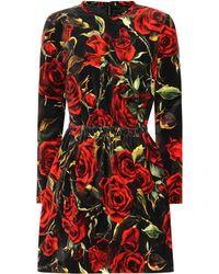 Dolce & Gabbana Floral-printed Velvet Minidress - Red