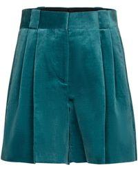 Blazé Milano Fell High-rise Velvet Shorts - Green