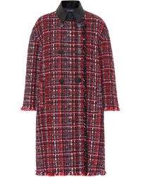 Alexander McQueen Tweed Wool-blend Coat - Red