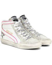 Golden Goose Deluxe Brand 'Slide' High-Top-Sneakers - Weiß