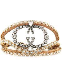 Gucci - Armband aus Leder mit Kristallen - Lyst