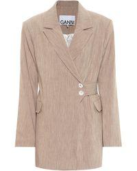 Ganni Mélange Longline Blazer - Multicolor