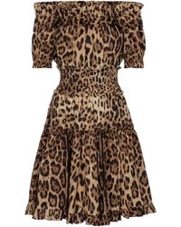 Dolce & Gabbana Abito a stampa leopardata in cotone - Marrone