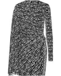 Balenciaga Stretch Velvet Minidress - Black