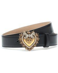 Dolce & Gabbana Devotion Belt In Lux Leather - Noir