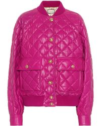 Gucci Quilted Leather Bomber Jacket - Pink
