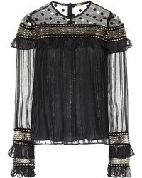 Dodo Bar Or - Embroidered Tulle And Chiffon Top - Lyst