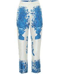 Valentino Hose aus Seiden-Twill - Blau