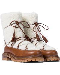 Aquazzura Ankle Boots mit Shearling - Weiß