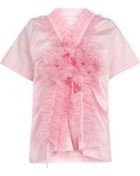 Noir Kei Ninomiya Camiseta de algodón con tul - Rosa