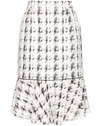 Nina Ricci - Embroidered Checked Skirt - Lyst