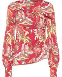 Peter Pilotto Asymmetrical Printed Blouse - Red