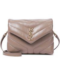 Saint Laurent Toy Loulou Leather Shoulder Bag - Natural