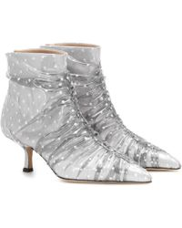MIDNIGHT 00 Tulle And Pvc Ankle Boots - White