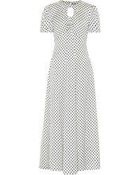 ALEXACHUNG Robe longue Maria & Dot imprimée en satin - Blanc