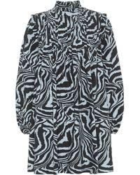 Ganni Tiger-print Cotton Minidress - Multicolor