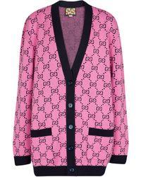 Gucci GG Multicolour Jacquard Cardigan - Pink