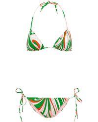Emilio Pucci Printed Triangle Bikini - Green