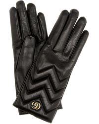 Gucci Handschuhe GG Marmont aus Leder - Schwarz