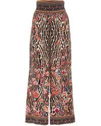 Camilla Pantalon ample imprimé à taille haute en soie - Multicolore