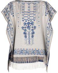 Etro Poncho aus Kaschmir und Wolle - Blau