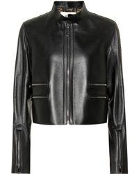 Fendi Ff Logo Leather Jacket - Black