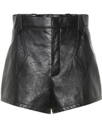 Saint Laurent High-waisted Leather Shorts - Black