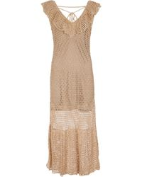 Anna Kosturova Gold Frill Crochet Cotton Maxi Dress - Metallic