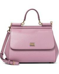 Dolce & Gabbana Sicily Medium Leather Shoulder Bag - Pink