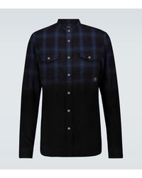 Balmain Chemise à carreaux en coton - Bleu