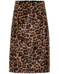 ROKH Leopard-print Faux Fur Pencil Skirt - Brown