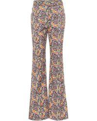 Philosophy Di Lorenzo Serafini Pantalon évasé en coton à fleurs et taille haute - Multicolore