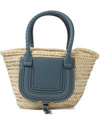 Chloé Marcie Medium Raffia Basket Bag - Blue