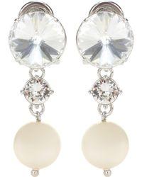 Miu Miu Clip-Ohrringe mit Kristallen - Weiß