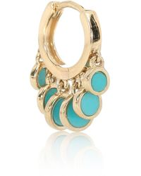 Jacquie Aiche Disco Shaker 14kt Gold Single Hoop Earring With Turquoise - Metallic