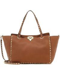 Valentino Garavani Rockstud Medium Leather Tote - Brown