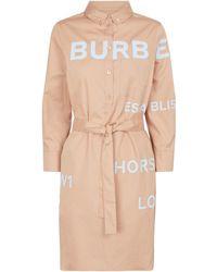 Burberry Vestido midi de sarga con logo - Neutro