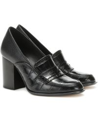Loewe Leather Loafer Court Shoes - Black