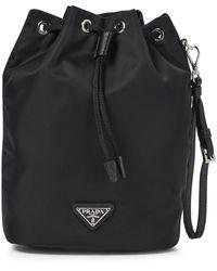 Prada Bucket-Bag aus Nylon - Schwarz