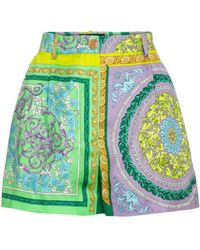 Versace Short Barocco Mosaic imprimé en soie - Vert