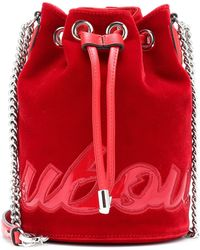Christian Louboutin Marie Jane Pu-trimmed Leather Bucket Bag - Red