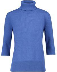 MM6 by Maison Martin Margiela Cotton-blend Turtleneck Sweater - Blue
